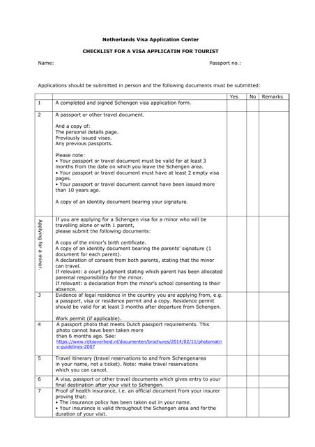 """Checklist for a Schengen Visa Application for Tourist - Netherlands Visa Application Center"" - Netherlands Download Pdf"