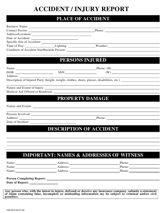 """Accident/Injury Report Form"" Download Pdf"