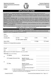 Commercial Activity Application Form - Valletta Malta