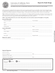 """Request for Grade Change Form - University of California"""
