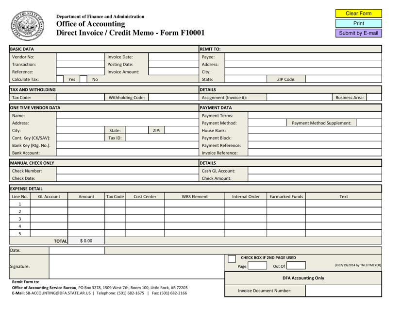 Form F-10001 Printable Pdf
