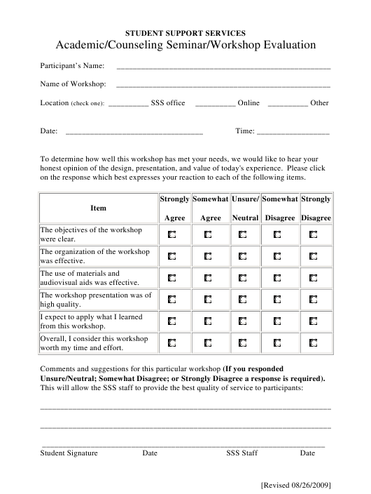 academic  counseling seminar  workshop evaluation form