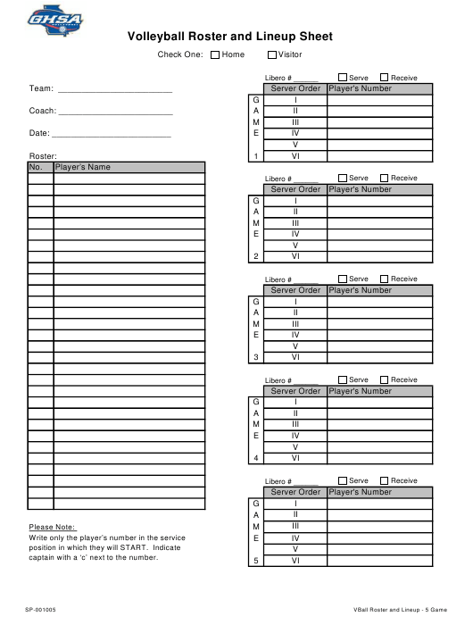 """""""Volleyball Roster and Lineup Sheet Template - Ghsa"""" Download Pdf"""