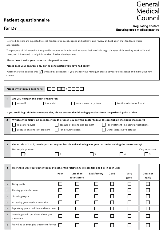 """Patient Questionnaire - General Medical Council"" - United Kingdom Download Pdf"