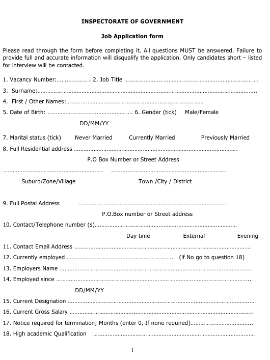 """Job Application Form - Inspectorate of Government"" - Uganda Download Pdf"
