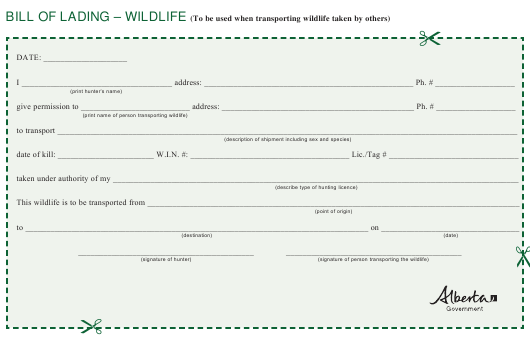 """Bill of Lading for Wildlife"" - Alberta, Canada Download Pdf"