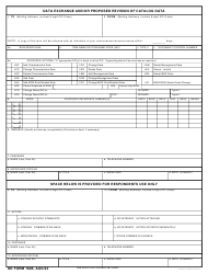 DD Form 1685 Data Exchange and/Or Proposed Revision of Catalog Data
