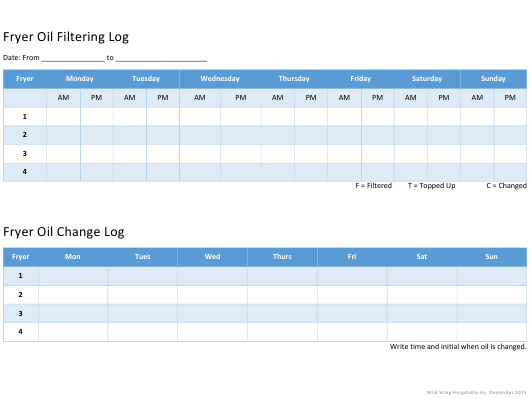 """Fryer Oil Filtering/Change Log Templates"" Download Pdf"