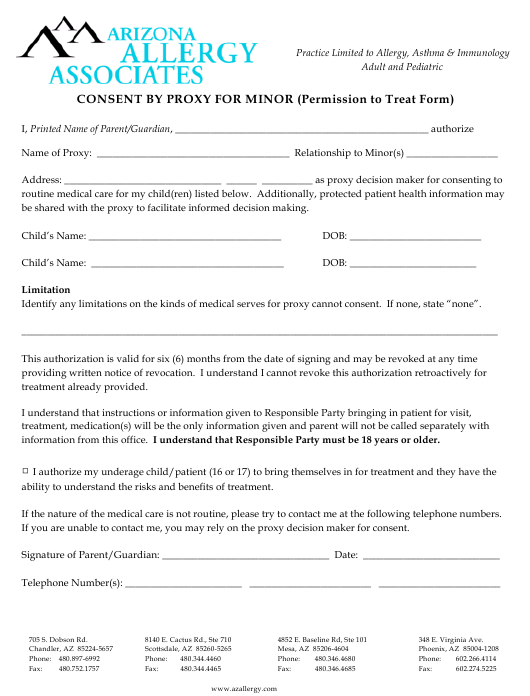 """Consent by Proxy for Minor (Permission to Treat Form) - Arizona Allergy Associates"" Download Pdf"