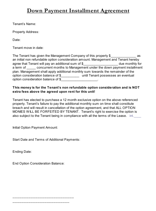 Down Payment Installment Agreement Template Download Printable Pdf