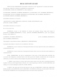 """""""Real Estate Lease Agreement Template"""""""