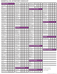 """Essential Oil Inventory Checklist Template"""