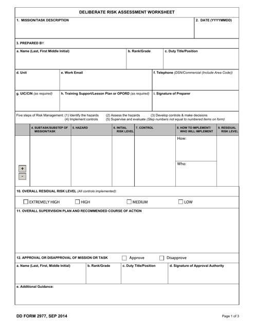 DD Form 2977 Fillable Pdf