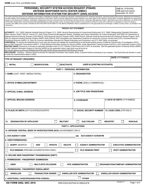 DD Form 2962 Printable Pdf