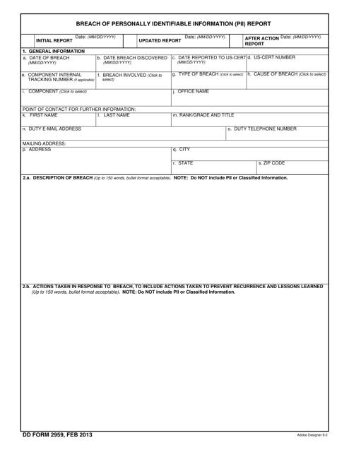 DD Form 2959 Fillable Pdf