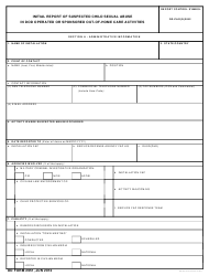 DD Form 2951 Initial Report of Suspected Child Sexual Abuse in DoD Operated or Sponsored out-Of-Home Care Activities