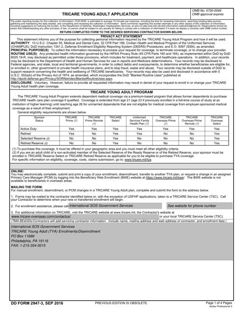 DD Form 2947-3  Printable Pdf