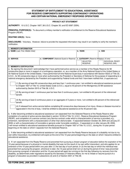 DD Form 2940 Fillable Pdf