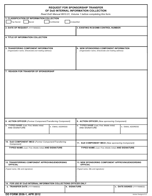 DD Form 2936-1 Printable Pdf