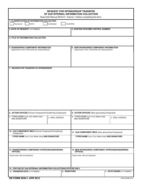 DD Form 2936-1 Fillable Pdf