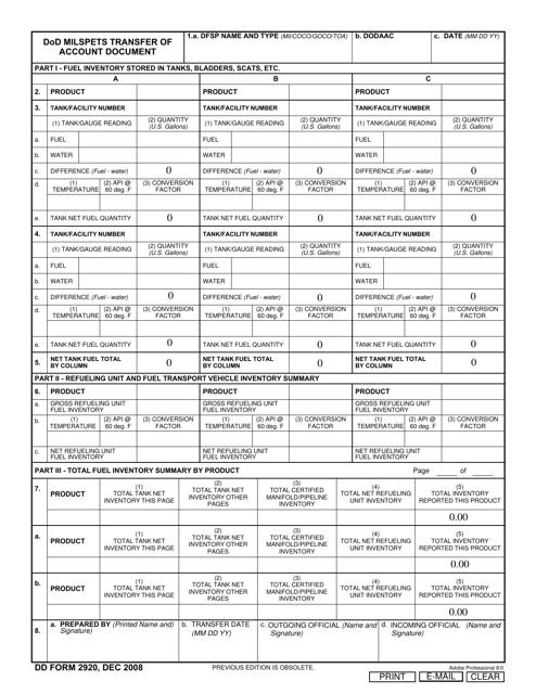 DD Form 2920  Printable Pdf