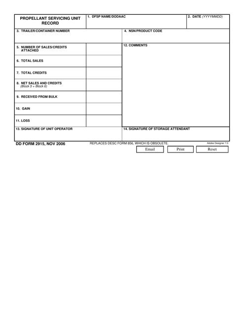 DD Form 2915  Printable Pdf