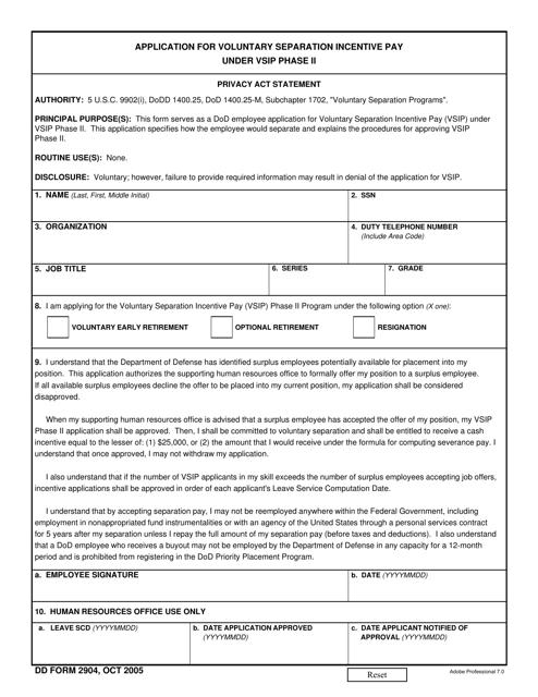 DD Form 2904 Fillable Pdf
