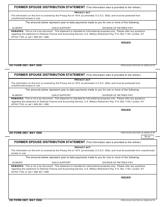 Dd Form 2897 Download Fillable Pdf Former Spouse Distribution