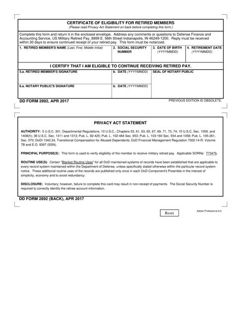 DD Form 2892 Printable Pdf