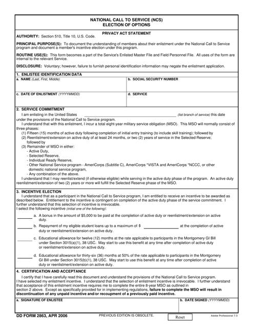 DD Form 2863  Printable Pdf