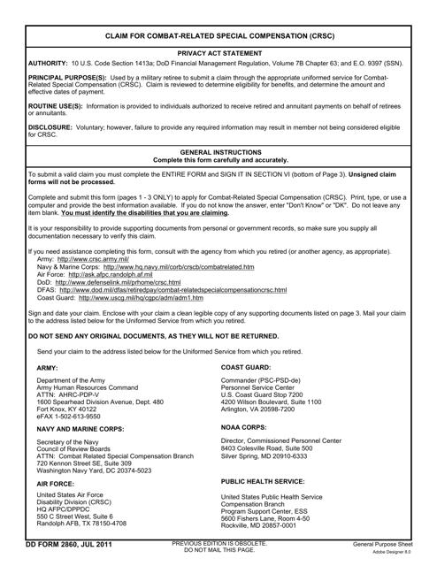 DD Form 2860  Printable Pdf