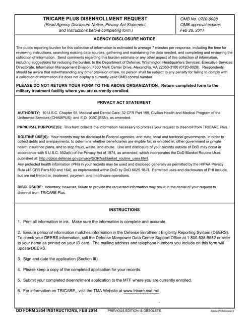 Dd Form 2854 Download Fillable Pdf Tricare Plus Disenrollment