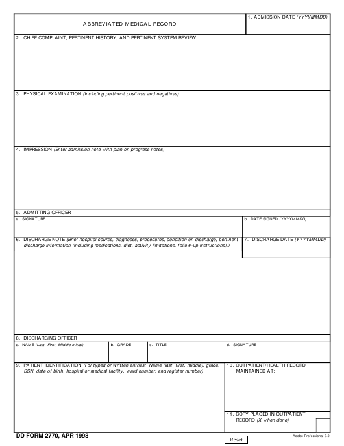 DD Form 2770  Printable Pdf