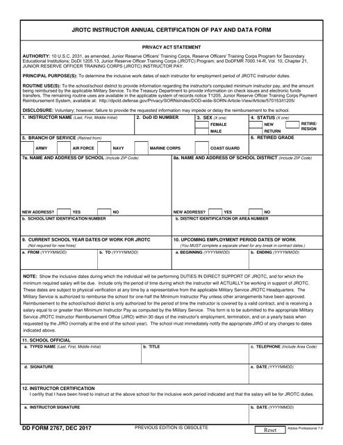 DD Form 2767  Printable Pdf