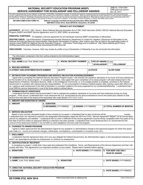 DD Form 2752  Printable Pdf