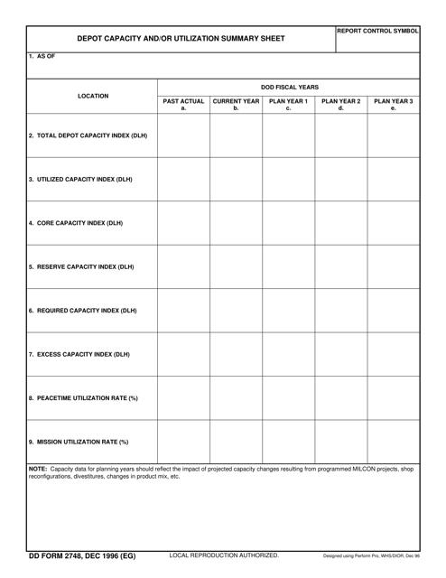 DD Form 2748  Printable Pdf