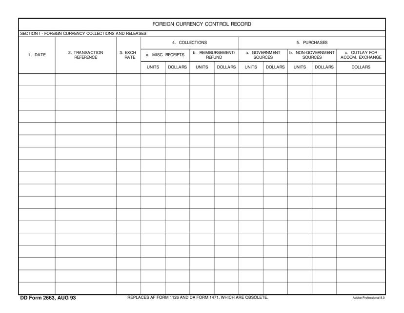 DD Form 2663  Printable Pdf