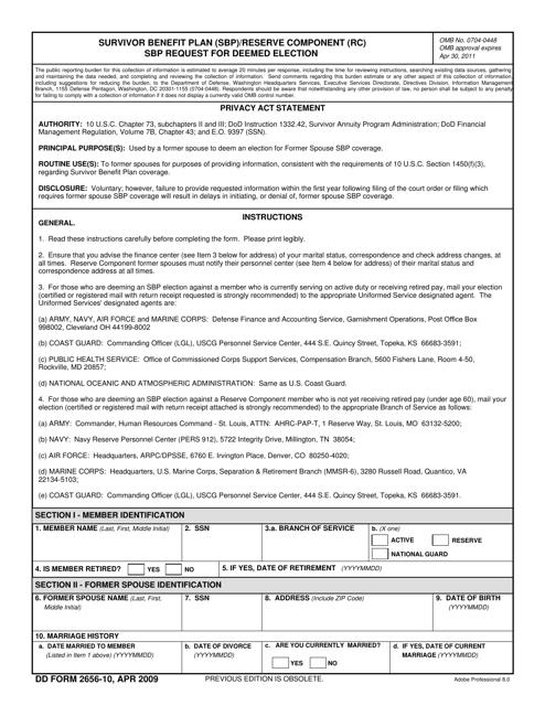 DD Form 2656-10  Fillable Pdf