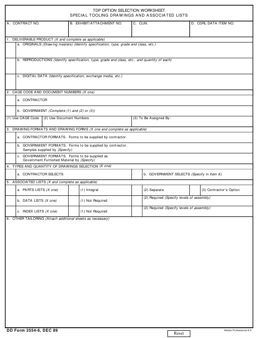DD Form 2554-6 Fillable Pdf