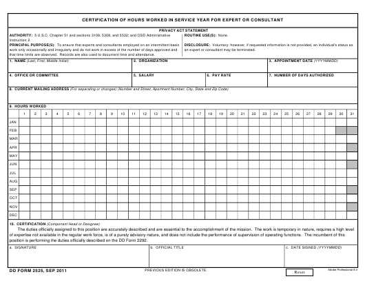 DD Form 2525 Fillable Pdf