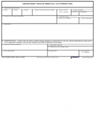 DD Form 2505 Abandoned Vehicle Removal Authorization
