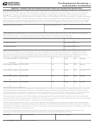 "PS Form 2181-A ""Pre-employment Screening - Authorization and Release"""