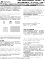 "PS Formulario 1093-S ""Solicitud Para El Servicio Post Office Box"" (Spanish)"