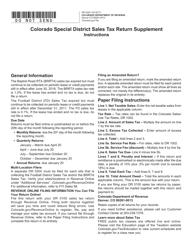 """Form DR0200 """"Colorado Special District Sales Tax Return Supplement"""" - Colorado"""