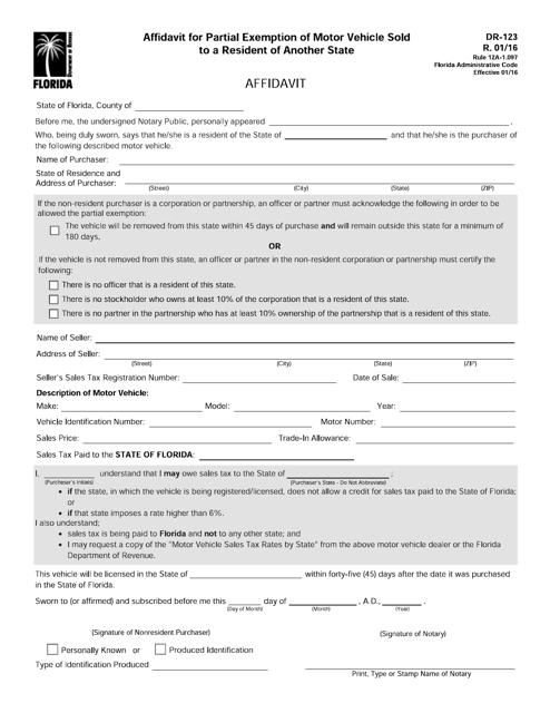 Form DR-123  Printable Pdf