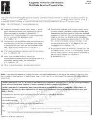 """Form DR-97 """"Suggested Format for an Exemption Certificate Based on Property's Use"""" - Florida"""
