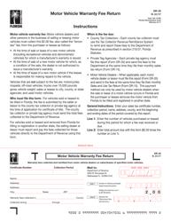 "Form DR-35 ""Motor Vehicle Warranty Fee Return"" - Florida"