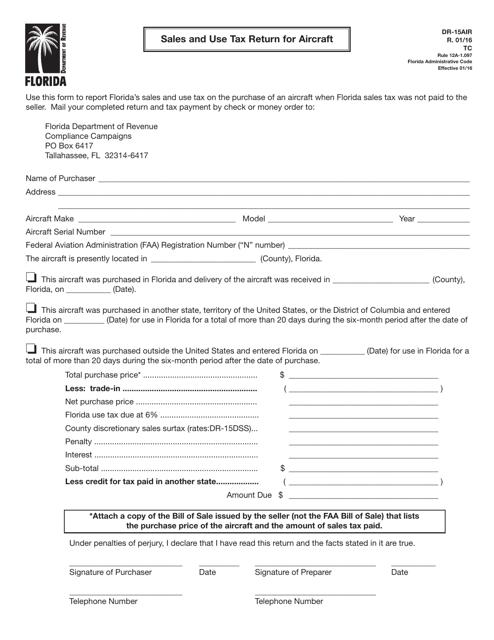 Form DR-15AIR  Printable Pdf