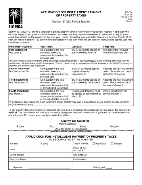Form DR-534 Printable Pdf