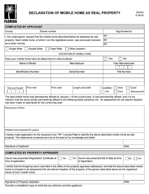 Form DR-402  Printable Pdf